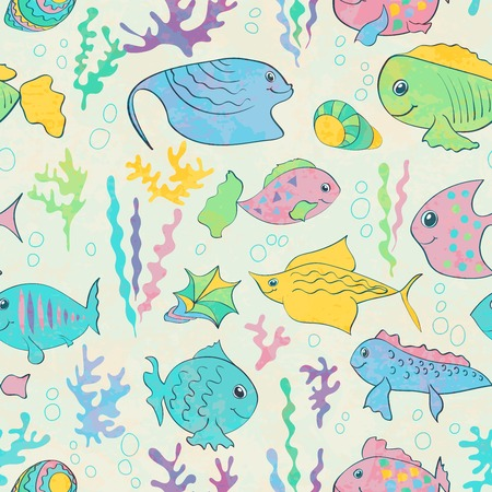 seaweeds: Seamless pattern with cartoon fishes and seaweeds.  Vector illustration. Illustration