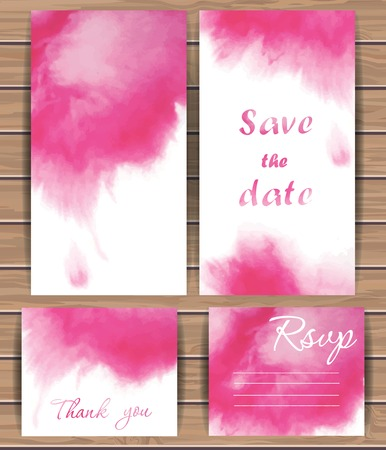 Wedding vector card templates with watercolor splash. Hand drawn design for Save The Date, Thank you card, Greeting card, birthday cards, invitations. Wood plank vector background is in the separate layer.  Vector illustration.