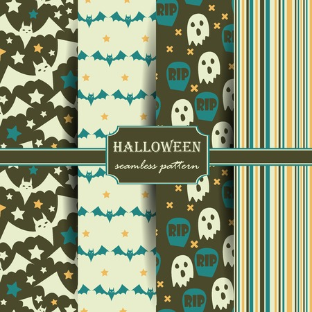 Set of Halloween seamless patterns. Childish background. Holiday design. Vector illustration.