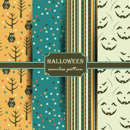 holiday background: Set of Halloween seamless patterns. Childish background. Holiday design. Vector illustration.
