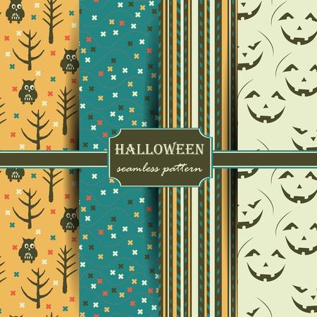 Set of Halloween seamless patterns. Childish background. Holiday design. Vector illustration.