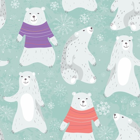 Cute polar bears and snowflakes seamless pattern. Bear in sweater.Vector illustration.