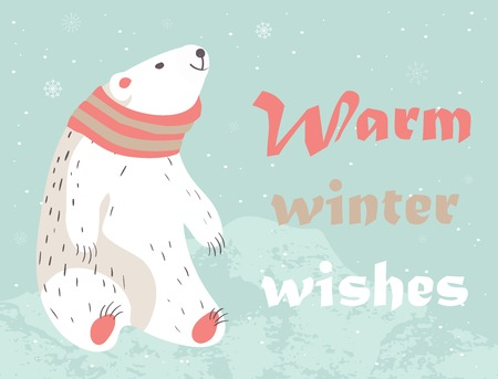 Christmas card with cute polar bear in scarf. Warm winter wishes card design. Vector illustration. Stock Illustratie