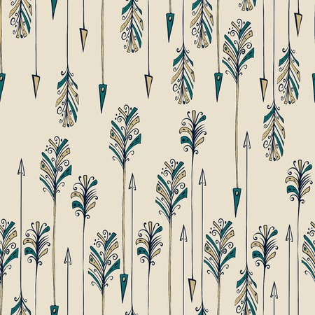 Seamless pattern with colored abstract feather arrows.  Vector illustration