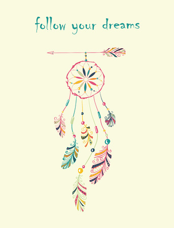 Card with native Indian-American dream catcher hanging on arrow.