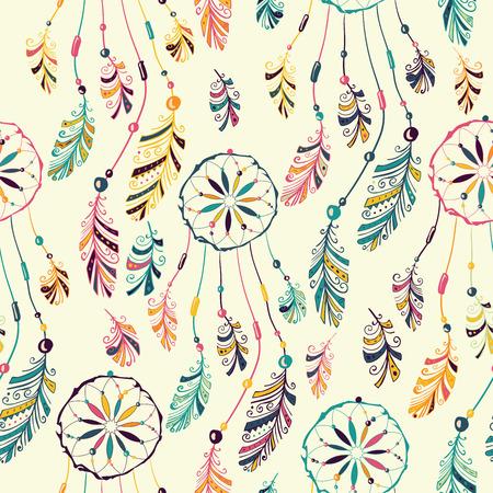 ネイティブ インディアン ・ アメリカン ドリーム キャッチャーとのシームレスなパターン。  イラスト・ベクター素材