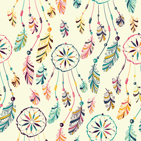 Seamless pattern with native Indian-American dream catcher.