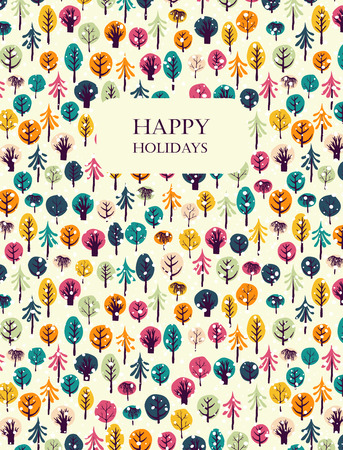 compliments: Happy holidays greeting card. Colorful trees and snowflakes background. Seamless patterns are masked. Winter holiday design. Vector illustration. Illustration
