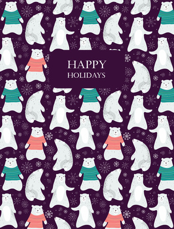 Card with cute polar bears and snowflakes.  Bear in sweater. Seamless pattern is masked. Vector illustration. Stock Illustratie