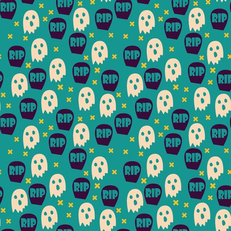 graves: Halloween seamless pattern with ghosts and graves. Childish background. Hand drawn holiday design for fabric, wrapping paper, greeting cards or invitation.