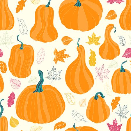 gobble: Seamless pattern with autumn pumpkins and leaves. Hand drawn holiday design for fabric, wrapping paper, greeting cards, invitation, stationery. Illustration