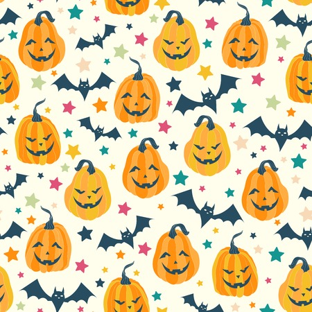 faced: Halloween seamless pattern with scary faced pumpkin, bat and star.