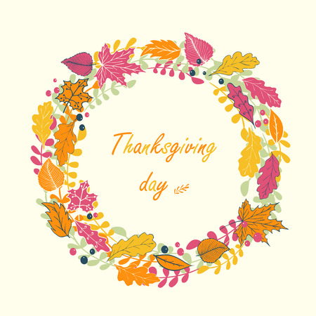 gobble: Greeting card for Thanksgiving holiday with circle of Autumn leaves. Illustration