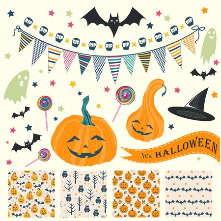 faced: Sat of Halloween seamless patterns and design elements with scary faced pumpkin, bat and star.