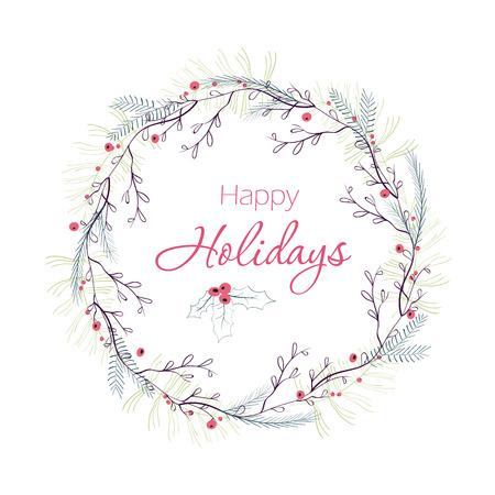 Gelukkige vakantie wenskaart. Winter krans met bessen, dennentakken, bladeren. Hand getrokken Kerst ontwerp van de vakantie voor wenskaarten, kalenders, posters, print, uitnodigingen. Vector Illustratie