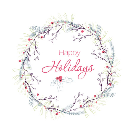 Happy holidays greeting card. Winter wreath with berries, pine branches, leafs.  Hand drawn Christmas Holiday design for greeting cards, calendars, posters, prints, invitations. Stock fotó - 45524544