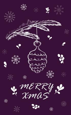 クリスマス カードを松の枝と結婚します。手には、生地、包装紙、グリーティング カード、招待状、文房具の冬の休日のデザインが描かれました。