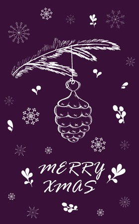 Marry Christmas Card with pine branch. Hand drawn winter holiday design for fabric, wrapping paper, greeting cards, invitation, stationery. Illustration