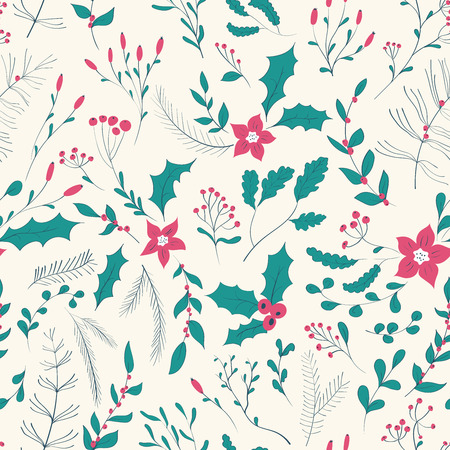 Seamless floral pattern with winter plants. Hand drawn winter holiday design for Christmas and New Year greeting cards, fabric, wrapping paper, invitation, stationery. Ilustracja