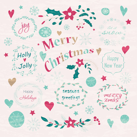 joy: Set of Christmas and New Years graphic elements. Hand drawn design for greeting cards, fabric, wrapping paper, invitation, stationery.