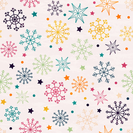 Seamless pattern with multicolored snowflakes. Hand drawn design for Christmas and New Year greeting cards, fabric, wrapping paper, invitation, stationery. Grunge seamless vector texture is in the separate layer.