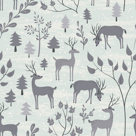 Deer in winter forest. Seamless pattern with hand drawn design for Christmas and New Year greeting cards, fabric, wrapping paper, invitation, stationery. Grunge seamless vector texture is in the separate layer. Illustration