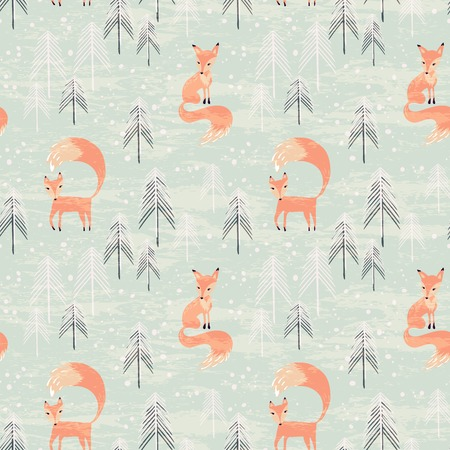 fox: Fox in winter pine forest. Seamless pattern with hand drawn design for Christmas and New Year greeting cards, fabric, wrapping paper, invitation, stationery. Grunge seamless vector texture is in the separate layer.
