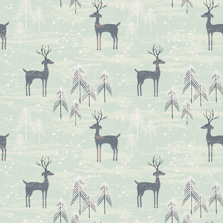 Deer in winter pine forest. Seamless pattern with hand drawn design for Christmas and New Year greeting cards, fabric, wrapping paper, invitation, stationery. Grunge seamless vector texture is in the separate layer. Illustration