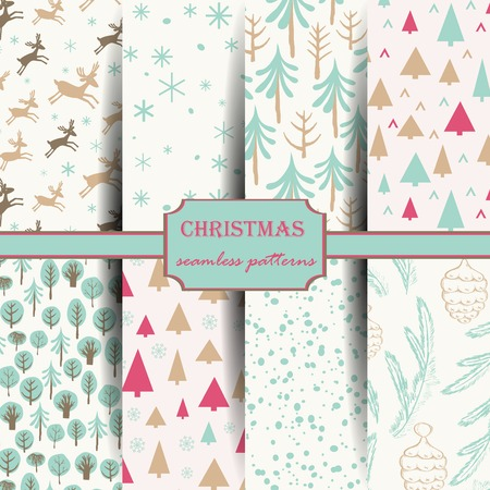 Set of seamless patterns with snowflakes, pines, deer and trees. Hand drawn design for Christmas and New Year greeting cards, fabric, wrapping paper, invitation, stationery. Seamless patterns are masked.