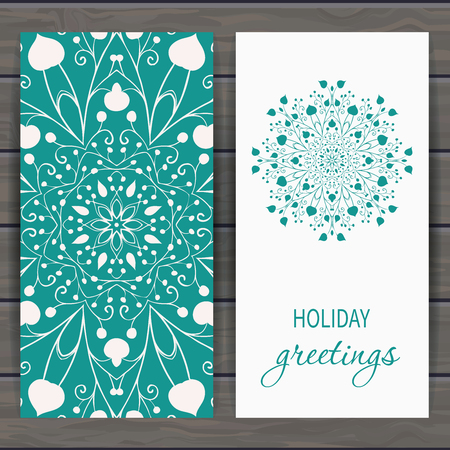 greeting: Christmas and New Year greeting card with floral snowflake.  design for greeting cards, fabric, wrapping paper, invitation, stationery. Wood plank background is in the separate layer. Illustration