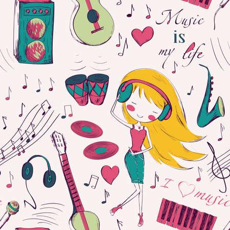 persone che ballano: Seamless pattern con strumenti Ragazza e musica. Design per il compleanno e Baby carte doccia di auguri, tessuto, carta da imballaggio, invito, cancelleria.