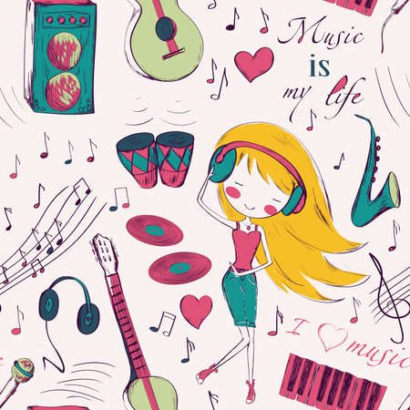 young girl: Seamless pattern with girl and music instruments.  design for Birthday and Baby Shower greeting cards, fabric, wrapping paper, invitation, stationery.