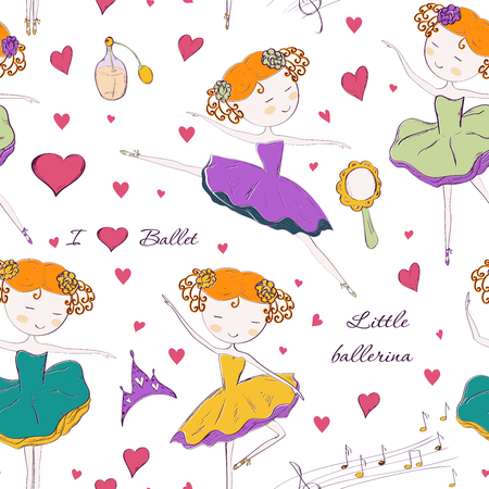 Seamless pattern with ballerina and accessories.  design for Birthday and Baby Shower greeting cards, fabric, wrapping paper, invitation, stationery.