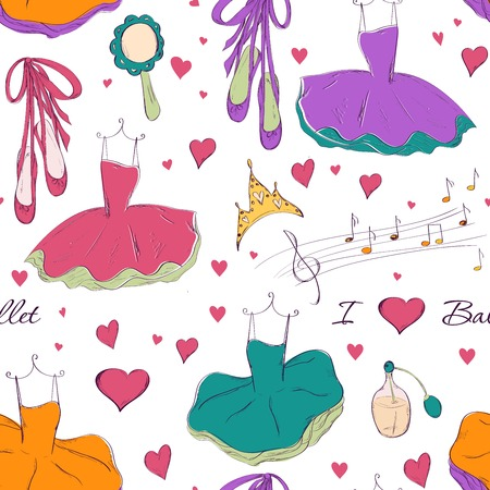 Seamless pattern with tutu dress and accessories.  design for Birthday and Baby Shower greeting cards, fabric, wrapping paper, invitation, stationery.