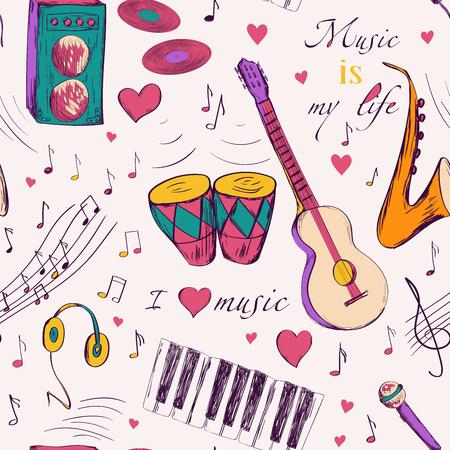 楽器とのシームレスなパターン。 誕生日とベビー シャワーのグリーティング カード、布、包装紙、招待状、文房具のデザイン。
