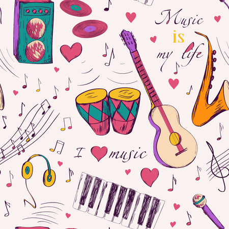 instrumentos de musica: Modelo inconsútil con los instrumentos musicales. diseño para cumpleaños y las tarjetas de felicitación de la ducha del bebé, tela, papel de regalo, invitación, papelería.