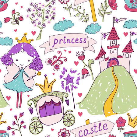 cute angel: Seamless pattern with fairy princess and her castle.   design for Birthday and Baby Shower greeting cards, fabric, wrapping paper, invitation, stationery.