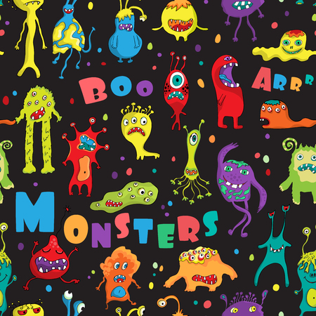 Monster seamless pattern. design for Halloween, Birthday and Baby Shower greeting cards, fabric, wrapping paper, invitation, stationery.