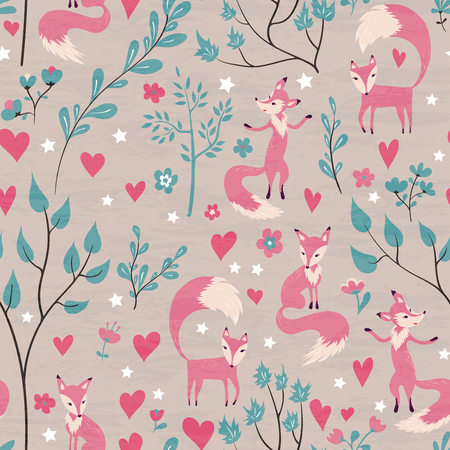 invitation background: Foxes in love forest. Seamless pattern with design for Valentines Day and Birthday greeting cards, fabric, wrapping paper, invitation, stationery. Grunge seamless texture is in the separate layer.