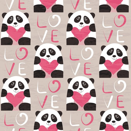 Panda with heart seamless pattern.  design for Valentines Day and Birthday greeting cards, fabric, wrapping paper, invitation, stationery.