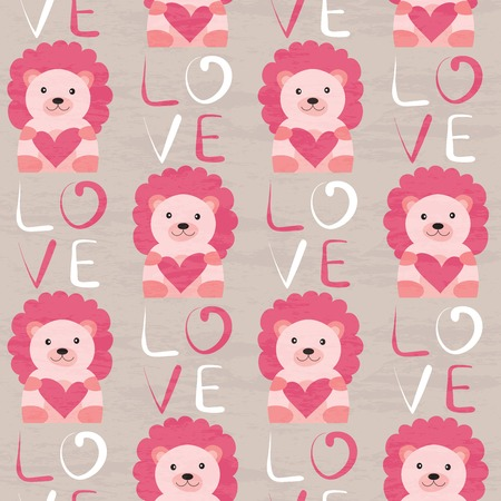 cartoon present: Lion with heart seamless pattern.  design for Valentines Day and Birthday greeting cards, fabric, wrapping paper, invitation, stationery.