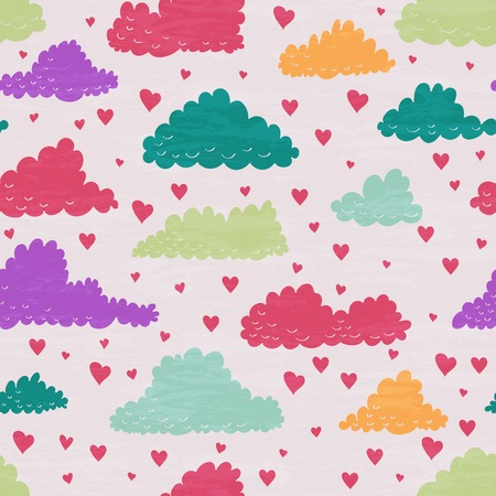 raining: Seamless pattern with multicolored clouds and rain of hearts.   design for Valentines Day and Birthday greeting cards, fabric, wrapping paper, invitation, stationery.
