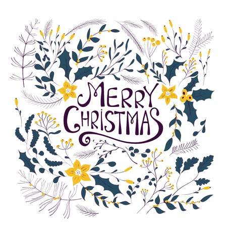 greeting: Merry Christmas greeting card. Winter wreath with berries, pine branches, leafs. Christmas Holiday design for greeting cards, calendars, posters, prints, invitations.