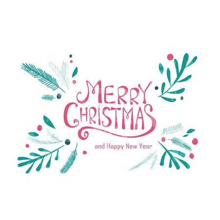 Tarjeta de felicitación de la Feliz Navidad. Corona de invierno con ramas de pino. Dibujado a mano de diseño de vacaciones de Navidad para tarjetas de felicitación, calendarios, carteles, impresiones, invitaciones.