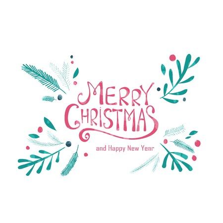 abetos: Tarjeta de felicitación de la Feliz Navidad. Corona de invierno con ramas de pino. Dibujado a mano de diseño de vacaciones de Navidad para tarjetas de felicitación, calendarios, carteles, impresiones, invitaciones.