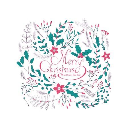 メリー クリスマス手レタリング グリーティング カード。冬花輪果実、松の枝と葉します。 グリーティング カード、カレンダー、ポスター、印刷物  イラスト・ベクター素材