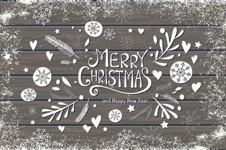 christmas wishes: Greeting card with Merry Christmas hand lettering. Hand drawn design for greeting card, fabric, wrapping paper, invitation, stationery. Wood plank vector background is in the separate layer.
