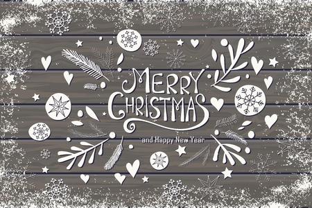 Wenskaart met Vrolijk kerstfeest hand belettering. Hand getrokken ontwerp voor de wenskaart, stof, inpakpapier, uitnodiging, briefpapier. Houten plank vector achtergrond is in de aparte laag.