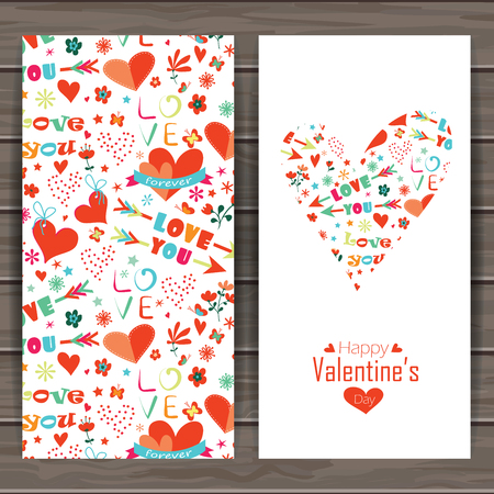 Happy valentines day card. Background with flowers and hearts. Seamless pattern is masked.  Wood plank vector background is in the separate layer. 向量圖像