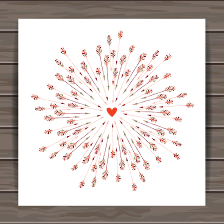 Happy Valentines day card with hand drawn Indian-American arrows and heart. Wood plank vector background is in the separate layer.